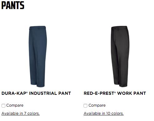 red kap pants